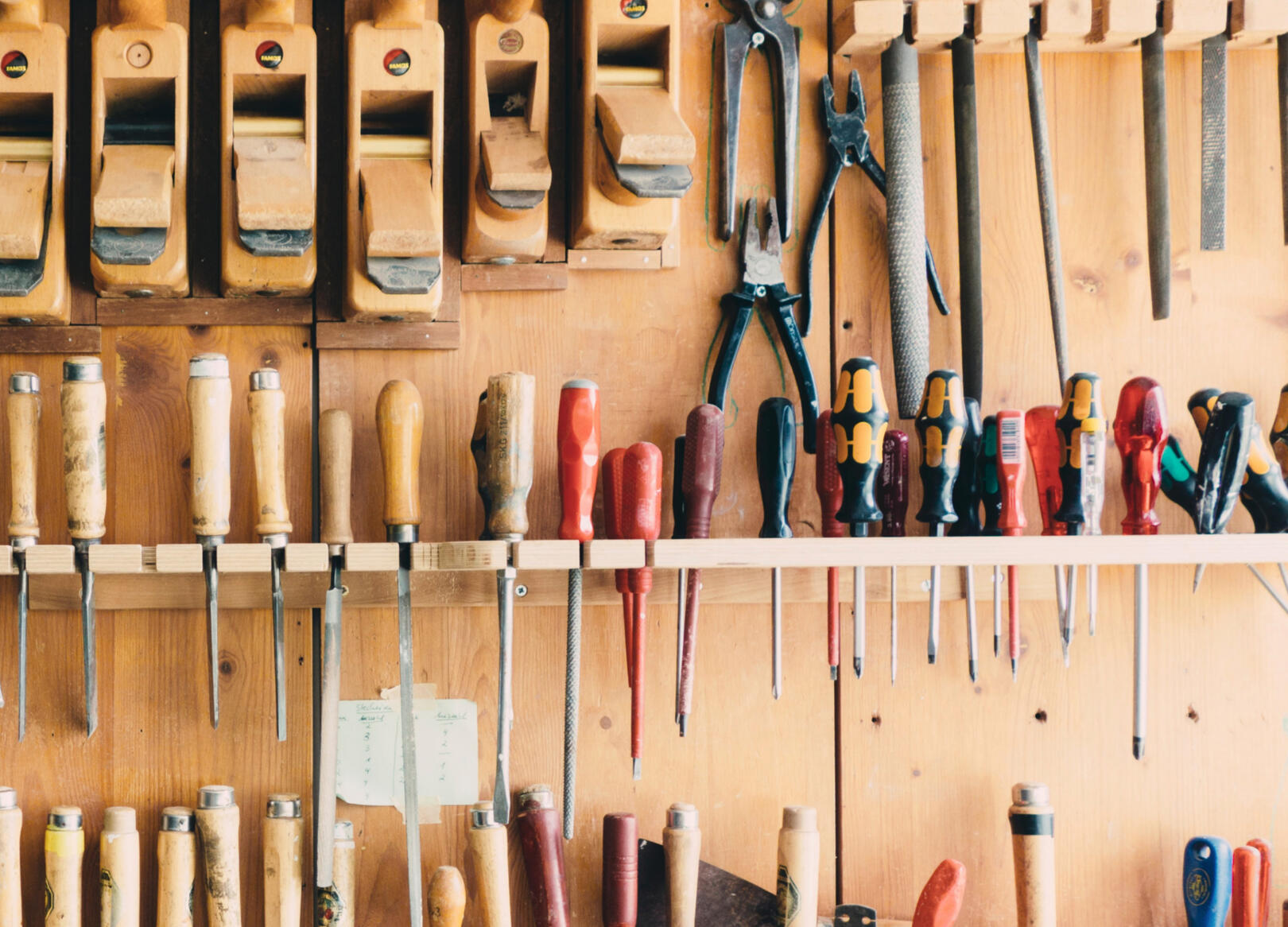 Wall of organized tools